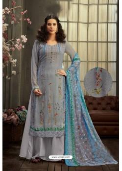 Aqua Grey Designer Pure Viscose Bemberg Georgette Palazzo Salwar Suit
