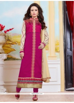 Swanky Cotton Resham Work Designer Straight Salwar Kameez