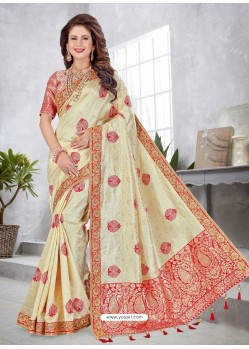 Cream Latest Designer Traditional Party Wear Banarasi Silk Wedding Sari