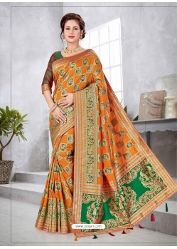 Orange Latest Designer Traditional Party Wear Banarasi Silk Wedding Sari