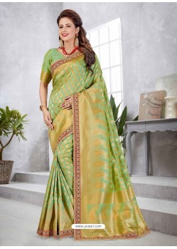 Green Latest Designer Traditional Party Wear Banarasi Silk Wedding Sari