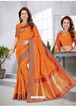 Orange Latest Designer Traditional Party Wear Banarasi Silk Wedding Sari
