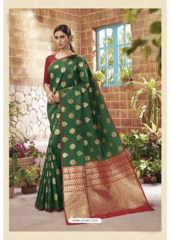 Dark Green Latest Designer Classic Wear Soft Silk Sari