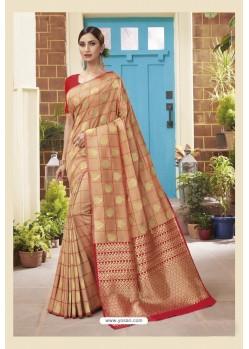 Light Orange Latest Designer Classic Wear Soft Silk Sari