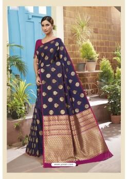 Navy Blue Latest Designer Classic Wear Soft Silk Sari