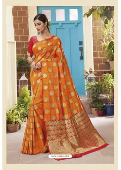 Orange Latest Designer Classic Wear Soft Silk Sari