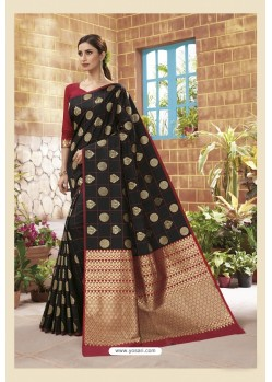 Black Latest Designer Classic Wear Soft Silk Sari