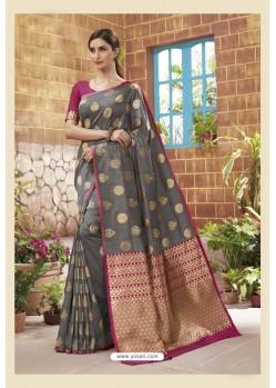 Grey Latest Designer Classic Wear Soft Silk Sari