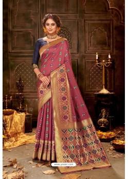 Deep Wine Embroidered Designer Party Wear Banarasi Silk Sari