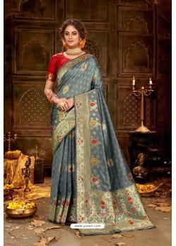 Grey Embroidered Designer Party Wear Banarasi Silk Sari