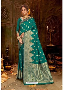 Teal Embroidered Designer Party Wear Banarasi Silk Sari