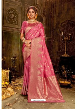 Hot Pink Embroidered Designer Party Wear Banarasi Silk Sari