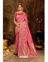 Hot Pink Embroidered Designer Party Wear Banarasi Silk Sari