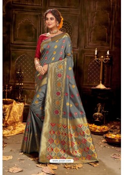 Grey Embroidered Designer Party Wear Banarasi Silk Sari