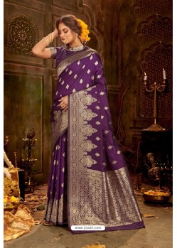 Purple Embroidered Designer Party Wear Banarasi Silk Sari