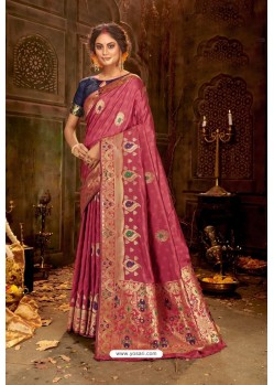 Rose Red Embroidered Designer Party Wear Banarasi Silk Sari
