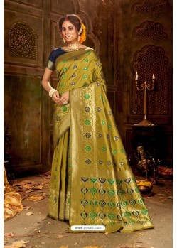 Green Embroidered Designer Party Wear Banarasi Silk Sari