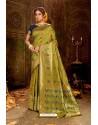 Green Embroidered Designer Party Wear Banarasi Silk Sari