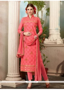 Floral Hot Pink Cotton Salwar Suit