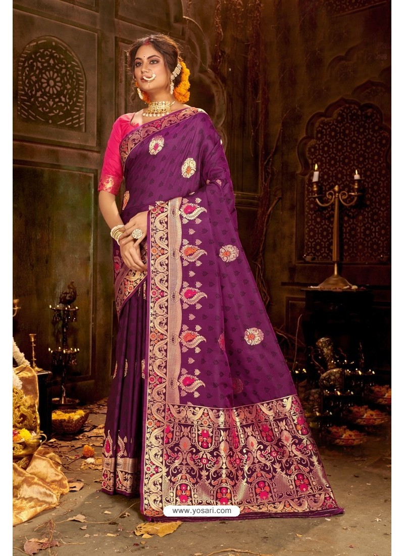 Purple Embroidered Designer Party Wear Banarasi Silk Sari