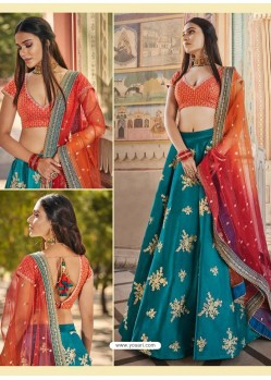 Teal Heavy Embroidered Designer Wedding Wear Lehenga Choli