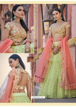 Green Heavy Embroidered Designer Wedding Wear Lehenga Choli