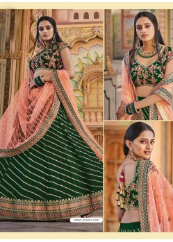 Dark Green Heavy Embroidered Designer Wedding Wear Lehenga Choli