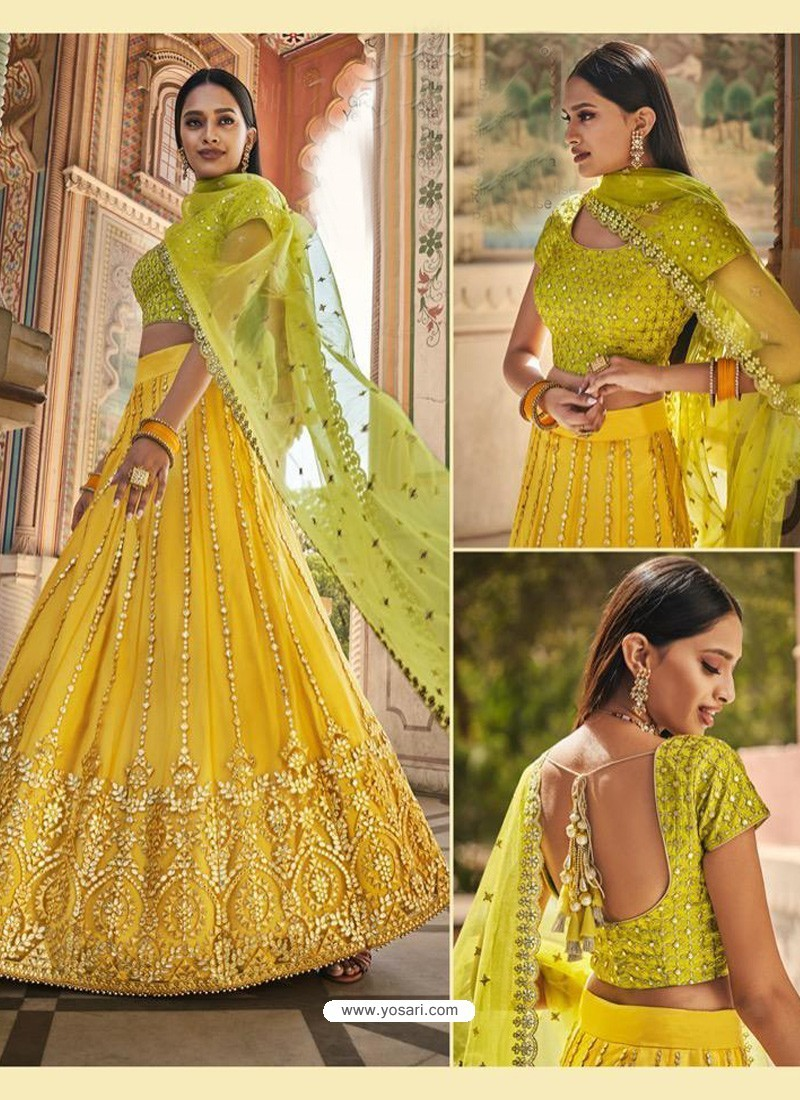 Yellow Heavy Embroidered Designer Wedding Wear Lehenga Choli
