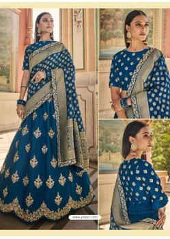 Teal Blue Heavy Embroidered Designer Wedding Wear Lehenga Choli