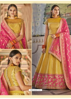 Yellow Heavy Embroidered Designer Wedding Wear Lehenga Choli