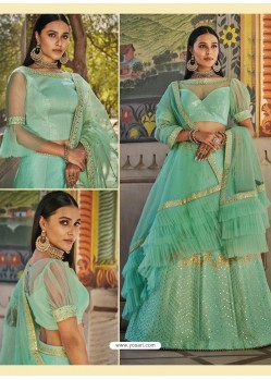 Sea Green Heavy Embroidered Designer Wedding Wear Lehenga Choli