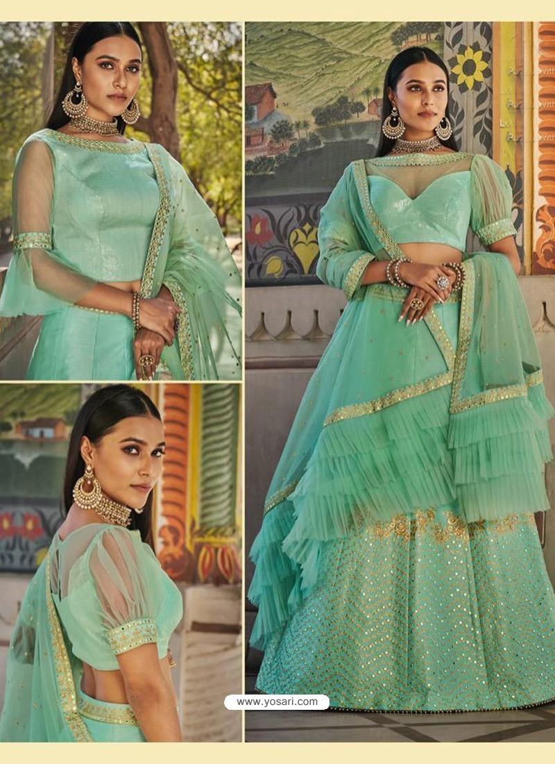Sea Green Heavy Embroidered Designer Wedding Wear Lehenga Choli