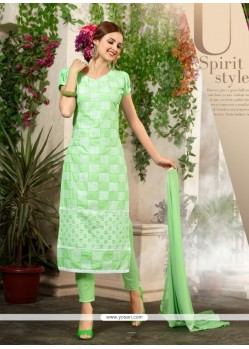 Superb Cotton Sea Green Resham Work Churidar Salwar Kameez