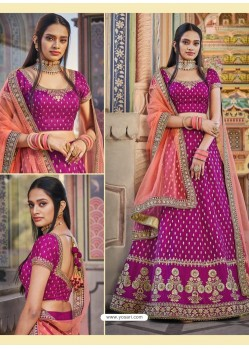 Medium Violet Heavy Embroidered Designer Wedding Wear Lehenga Choli