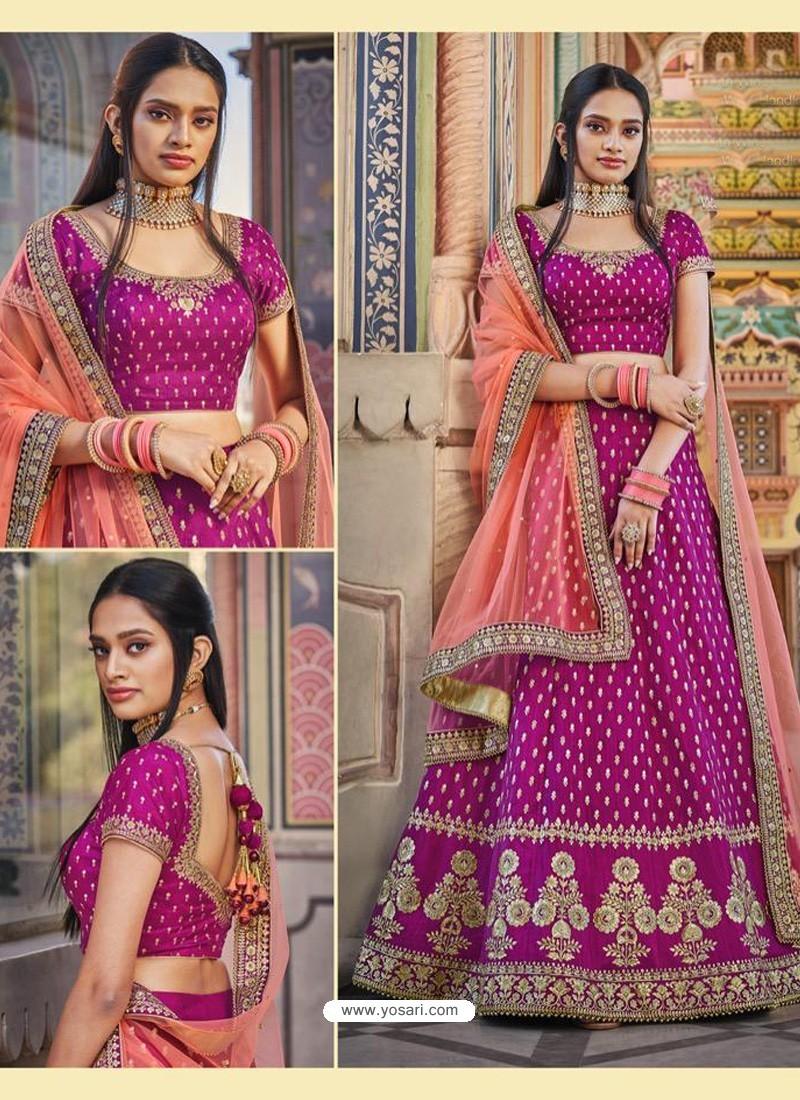 Medium Violet Heavy Embroidered Designer Wedding Wear Lehenga Choli