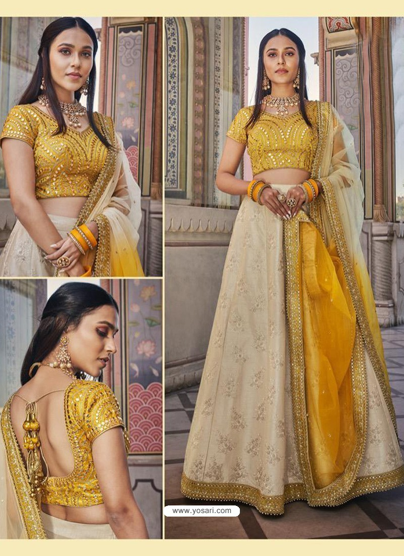 Light Beige Heavy Embroidered Designer Wedding Wear Lehenga Choli