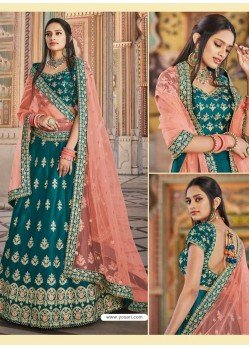 Teal Green Heavy Embroidered Designer Wedding Wear Lehenga Choli