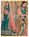 Teal Green Heavy Embroidered Designer Wedding Wear Lehenga Choli