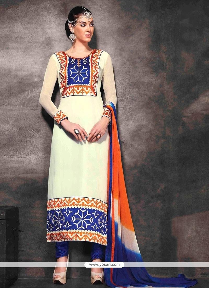 Mesmeric Cream Georgette Churidar Salwar Kameez