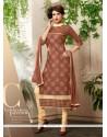 Eye-catchy Brown Churidar Salwar Suit