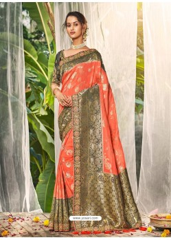 Orange Heavy Embroidered Designer Wedding Wear Dola Silk Sari