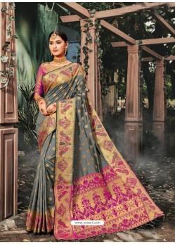 Grey Designer Traditional Wear Banarasi Silk Sari