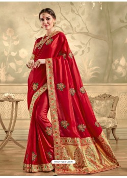 Red Designer Party Wear Embroidered Poly Silk Sari