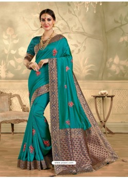 Turquoise Designer Party Wear Embroidered Poly Silk Sari