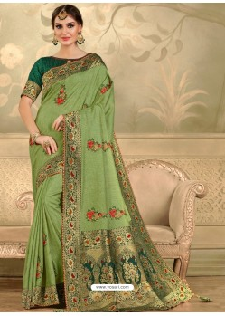 Green Designer Party Wear Embroidered Poly Silk Sari