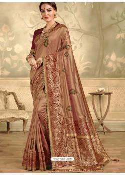 Beige Designer Party Wear Embroidered Poly Silk Sari