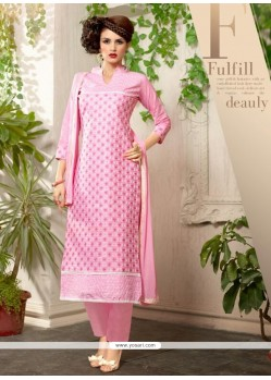 Thrilling Hot Pink Resham Work Churidar Salwar Kameez