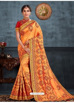 Orange Designer Party Wear Embroidered Poly Silk Sari