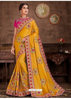 Yellow Designer Party Wear Embroidered Poly Silk Sari