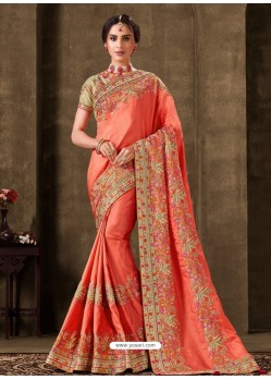 Peach Designer Party Wear Embroidered Poly Silk Sari